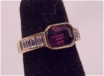 COSTUME JEWELRY - 18K GOLD ELECTROPLATE FAUX AMETHYST & RHINESTONE RING