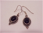 DANGLING STERLING SILVER & ONYX PIERCED EARRINGS