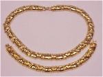 COSTUME JEWELRY - GOLD TONE CHOKER NECKLACE & BRACELET SIGNED MONET