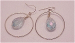 DANGLING SILVER HOOP WITH AURORA BOREALIS CRYSTAL PIERCED EARRINGS
