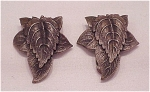 VINTAGE COSTUME JEWELRY - VINTAGE PAIR OF ART DECO SILVER TONE LEAF DRESS CLIPS