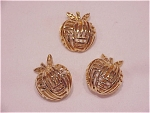 VINTAGE COSTUME JEWELRY - GOLD TONE APPLE CLIP EARRINGS & BROOCH SIGNED CORO