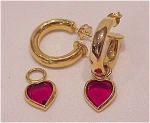 GOLD TONE HOOP PIERCED EARRINGS WITH RED HEART CHARMS