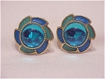 COSTUME JEWELRY - BLUE & GREEN ENAMEL WITH BLUE CABACHON PIERCED EARRINGS