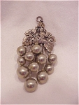 Click here to enlarge image and see more about item 51744: VINTAGE ART NOUVEAU SILVER TONE GREY PEARL GRAPE CLUSTER PENDANT