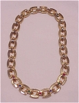 COSTUME JEWELRY - GOLD TONE CHOKER NECKLACE WITH MULTICOLORED RHINESTONES