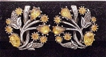 Click to view larger image of COSTUME JEWELRY - VINTAGE AMBER RHINESTONE CLIP EARRINGS SIGNED STAR (Image1)