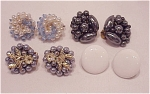 COSTUME JEWELRY - 4 PAIRS OF VINTAGE CLIP EARRINGS SIGNED JAPAN