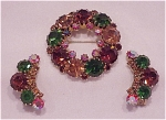 VINTAGE COSTUME JEWELRY -  WEISS RHINESTONE BROOCH & CLIP EARRINGS SET