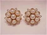 Click here to enlarge image and see more about item 05J1809: COSTUME JEWELRY - VINTAGE GOLD TONE FAUX PEARL SCREWBACK EARRINGS
