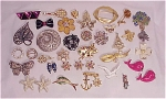VINTAGE COSTUME JEWELRY - LOT OF 38 BROOCHES OR PINS - 5 SIGNED, RHINESTONES, SOME VINTAGE