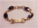 VINTAGE 10K GOLD FILLED ONYX ID BRACELET SIGNED LA MODE