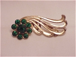 COSTUME JEWELRY - VINTAGE CORO GREEN RHINESTONE CLIP OR BROOCH