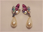 COSTUME JEWELRY - AURORA BOREALIS RHINESTONE AND DANGLING FAUX PEARL PIERCED EARRINGS