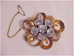 COSTUME JEWELRY - ANTIQUE VICTORIAN OR EDWARDIAN PASTE RHINESTONE BROOCH SIGNED FRANCE