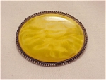 Click to view larger image of ANTIQUE VICTORIAN EDWARDIAN STERLING SILVER YELLOW GLASS BROOCH (Image1)