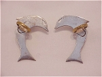 TAXCO MEXICAN STERLING SILVER DOLPHIN PIERCED EARRINGS SIGNED TA-70