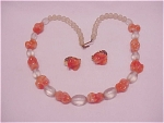COSTUME JEWELRY - VINTAGE ORANGE ART GLASS & FROSTED BEAD NECKLACE AND CLIP EARRINGS