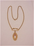 Click to view larger image of VINTAGE ART NOUVEAU LAVALIER NECKLACE WITH PINK RHINESTONE (Image1)