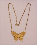 VINTAGE COSTUME JEWELRY - VINTAGE ART NOUVEAU BRASS BUTTERFLY WITH RHINESTONE EYES CHOKER NECKLACE