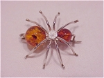 Click to view larger image of HANDMADE AMBER BEAD STERLING SILVER BUG INSECT BROOCH (Image1)