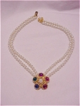 COSTUME JEWELRY - FAUX PEARL NECKLACE WITH MULTICOLORED CABACHON PENDANT AND SILVER CLASP