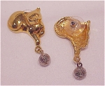 COSTUME JEWELRY - GOLD TONE CAT PLAYING WITH SILVER BALL PIERCED EARRINGS
