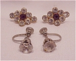 VINTAGE COSTUME JEWELRY - 2 PAIRS OF VINTAGE RHINESTONE SCREWBACK EARRINGS