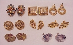 COSTUME JEWELRY - 8 PAIRS OF CLIP EARRINGS - 3 SIGNED, RHINESTONES