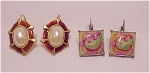 COSTUME JEWELRY - 2 PAIRS OF ENAMEL PIERCED EARRINGS- 1 WITH FAUX MABE' PEARLS