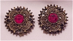 COSTUME JEWELRY - RED RHINESTONE PIERCED EARRINGS SIGNED EH