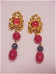 COSTUME JEWELRY - AVON PIERCED EARRINGS WITH DANGLING JADE AND CARNELIAN GLASS BEADS