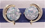 Click here to enlarge image and see more about item 05J1925: VINTAGE COSTUME JEWELRY - INLAID OPAL GOLD TONE CLIP EARRINGS