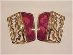 Click here to enlarge image and see more about item 05J1930: COSTUME JEWELRY - BEREBI LARGE DARK PINK ENAMEL PIERCED EARRINGS