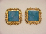 Click to view larger image of COSTUME JEWELRY - BEREBI GOLD TONE & BLUE GREEN ENAMEL PIERCED EARRINGS (Image1)