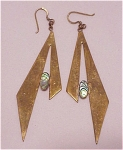LONG HAND MADE DANGLING BRASS AND ABALONE PIERCED EARRINGS