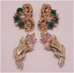 VINTAGE COSTUME JEWELRY - 2 PAIRS OF VINTAGE RHINESTONE CLIP EARRINGS