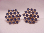 VINTAGE COSTUME JEWELRY - VINTAGE BLUE RHINESTONE SCREWBACK EARRINGS