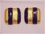 COSTUME JEWELRY - DONALD STANNARD GOLD TONE BLUE ENAMEL CLIP EARRINGS