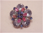 Click to view larger image of VINTAGE COSTUME JEWELRY - VINTAGE BLUE & PINK RHINESTONE BROOCH SIGNED AUSTRIA (Image1)