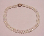 COSTUME JEWELRY - VINTAGE AURORA BOREALIS WHITE FACETED GLASS BEAD NECKLACE