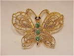 Click to view larger image of COSTUME JEWELRY - GOLD TONE & GREEN RHINESTONE BUTTERFLY BROOCH SIGNED NEW VIEW (Image1)