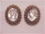 VINTAGE COSTUME JEWELRY - SILVER TONE MOTHER OF PEARL CAMEO PIERCED EARRINGS