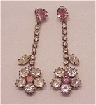 VINTAGE DANGLING PINK AND CLEAR RHINESTONE FLOWER PIERCED EARRINGS