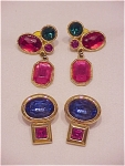 COSTUME JEWELRY - 2 PAIRS OF MULTICOLORED RHINESTONE PIERCED EARRINGS