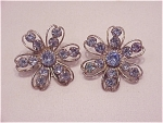 COSTUME JEWELRY - VINTAGE SILVER TONE & BLUE RHINESTONE CLIP EARRINGS