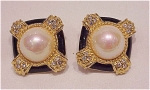 COSTUME JEWELRY - FAUX PEARL, BLACK ENAMEL, RHINESTONE CLIP EARRINGS