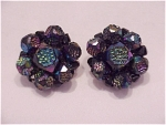 COSTUME JEWELRY - VINTAGE W. GERMANY BLACK IRIDESCENT BEAD CLIP EARRINGS