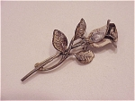 Click here to enlarge image and see more about item 05J2009: VINTAGE STERLING SILVER LONG STEMMED ROSE BROOCH