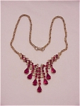 Click here to enlarge image and see more about item 05J2015: COSTUME JEWELRY - VINTAGE DANGLING RED & CLEAR RHINESTONE NECKLACE